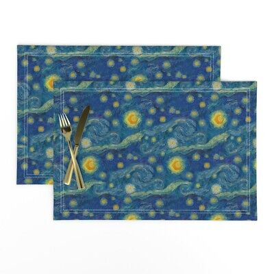 Cloth Placemats Starry Night Blue Yellow Orange Van Gogh Set of 2