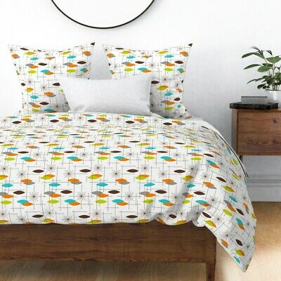 Mid Century Modern Starburst Lime Mcm Retro Space Sateen Duvet Cover by Roostery
