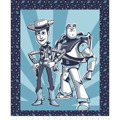 Disney Toy Story Buzz Lightyear and Woody Cotton Quilting Fabric Panel