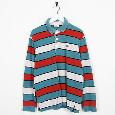 Vintage LACOSTE Small Logo Long Sleeve Striped Polo Shirt Top Blue Red | Large L