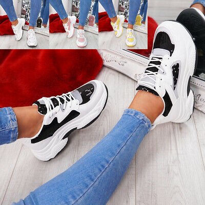 Womens Ladies Lace Up Chunky Sole Trainers Platform Party Sneakers Women Shoes