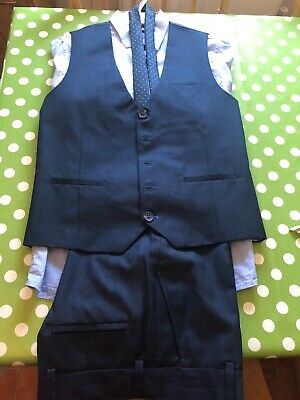 NEXT Boys wedding outfit, navy blue, trousers, shirt, waistcoat and tie, age 12