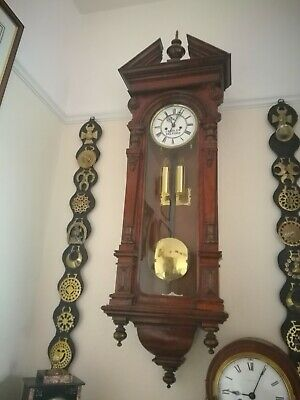 Large Vintage Twin Weight Driven Vienna Wall Clock ..SALFORD MAKER.?