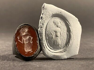 Ancient Roman Bronze Ring With Carnelian Intaglio Seal Depicting Figure. C.100Ad