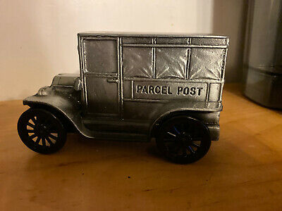 VTG 1974 US Parcel Post Mail Truck Metal Replica Coin Bank Post Office Banthrico