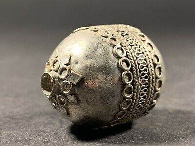 Ancient Hellenic Period Near Eastern Large Silver Decorated Bead Circa 300-50 Bc
