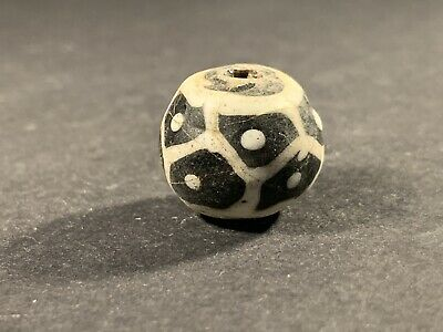 ANCIENT PHOENICIAN STUNNING COLOURED GLASS BEAD CIRCA. 700-500 BC 7.6gr 18mm