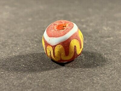 ANCIENT PHOENICIAN STUNNING COLOURED GLASS BEAD CIRCA. 700-500 BC 3.9gr 15mm