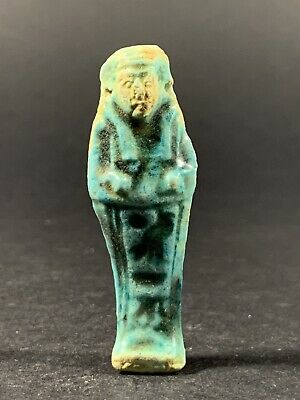 Ancient Egyptian Glazed Faience Shabti Detailed Hieroglyphics Circa. 600-300Bce