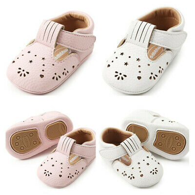 Newborn to 18M Baby Girls Hollow Crib Shoes Toddler PreWalker Rubber Soles Shoes