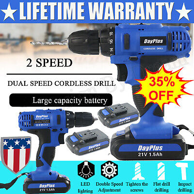 21V Impact Cordless Drill Kit Electric Combo Screwdriver 29pcs Tool Rechargeable