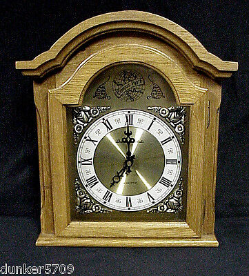Working Daniel Dakota Light Oak Wooden Mantle Clock Battery Operated Quartz