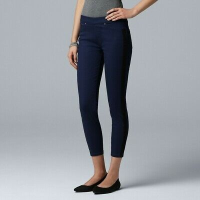 Simply Vera Vera Wang Denim Tuxedo Skimmer Pull on Legging Pants Navy & Black