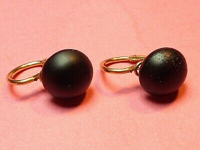 Antique Victorian French Gold French Jet Dormeuse Earrings 18Ct