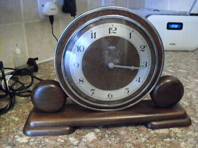 vintage small wooden mantle clock