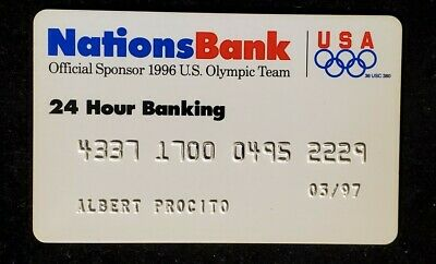 Nations Bank official sponsor 1996 Olympic Team credit card♡Free Shipping♡cc944