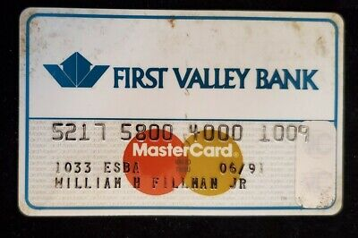 First Valley Bank MasterCard credit card exp 1991♡Free Shipping♡cc639♡
