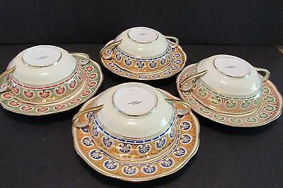4 CREAM SOUP CUPS & SAUCERS Antique Spode Copeland Hand Painted Egyptian Revival