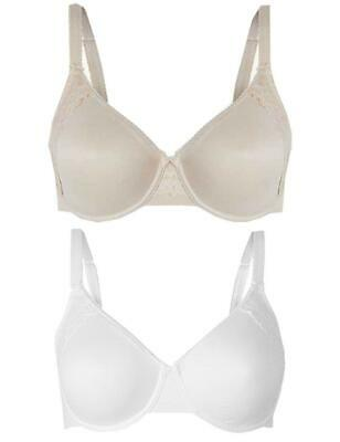 Ex Marks & Spencer Cool Comfort Lace Side Full Cup Minimiser Smoothing Bra M&S