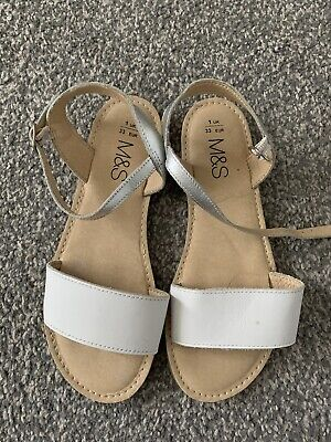 Girls White Leather Sandals Marks And Spencer