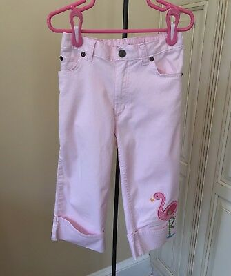 Lands' End Adjustable Elastic Waist Pink Cropped Pants With Flamingo ~ Girls 6X