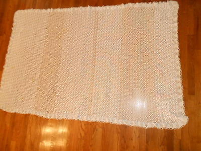 "Vintage Hand Crocheted Tablecloth - White/Beige - 78"" x 49"" Rectagular"