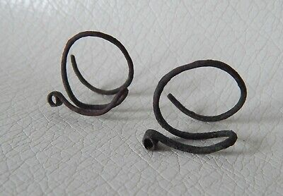 Ancient Bronze Temporal Rings Vikings Age.