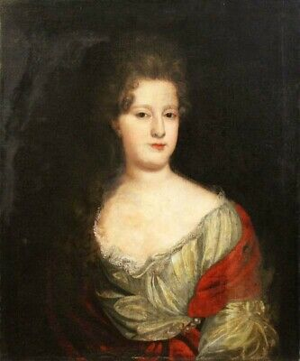 Early 18th Century English School Antique Oil on Canvas Portrait of a Lady