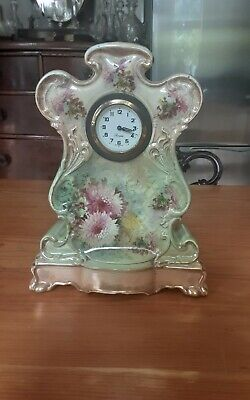 Edwardian Pottery Mantel Clock,  Case by st louis artwere