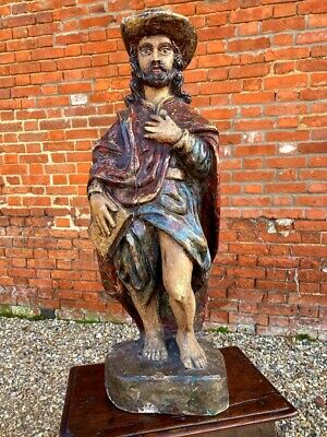 18th Century Antique Carved Wooden Sculpture of a Saint, Possibly Saint Roche