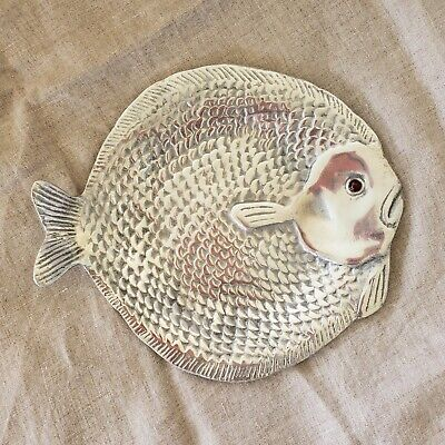 Arthur Court Aluminum Fish Ocean Fishing Red Carnelian Eyes Tray