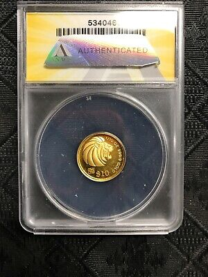 1993 SINGAPORE LION proof $10 ANACS PF69 1/10 OZT .999 GOLD
