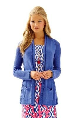 Lilly Pulitzer Womens Leah Open Front Cardigan Sweater Purple Pockets Cotton S