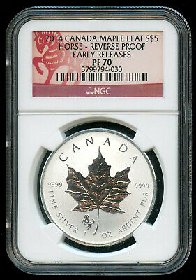 2014 Canada Silver Maple Leaf Reverse Proof Horse Privy NGC PF70 Early Releases