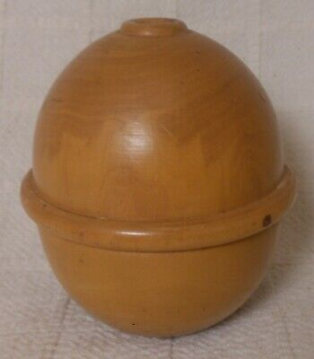 Vintage French Boxwood Treenware String Holder Ball