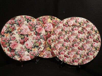 Royale Garden Staffordshire Rose Chintz Collection Dinner Plates England