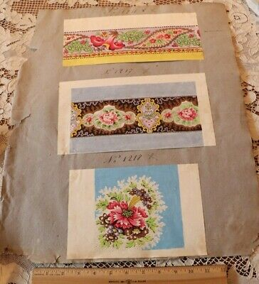 Antique 18thC Hand Painted Floral Textile Designs For French Scarf Manufacturer