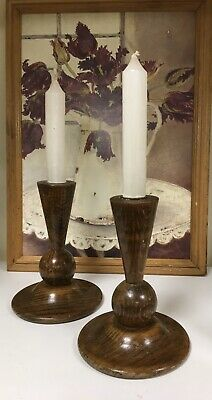 Art Deco Wooden Good Shape Stylized Pair Of Candle Sticks / Holders Approx 7""