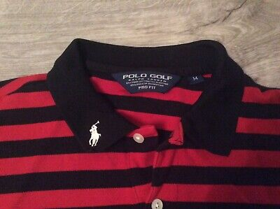 Mens Vare Rare Polo Ralph Lauren Red/Black Striped Golf Polo Top Size Med Class!