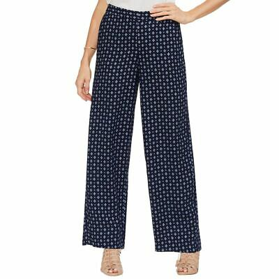 VINCE CAMUTO NEW Women's Navy Printed Wide-leg Pull On Palazzo Pants 8 TEDO