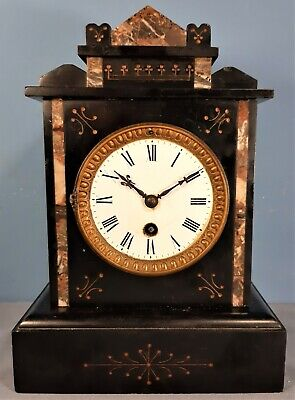 Antique French 8 Day Slate and Marble Mantel Clock. Working order.