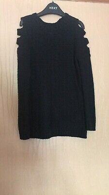 Girls Age 7-8 Years Primark Black Cold Shoulder Knitted Effect Jumper