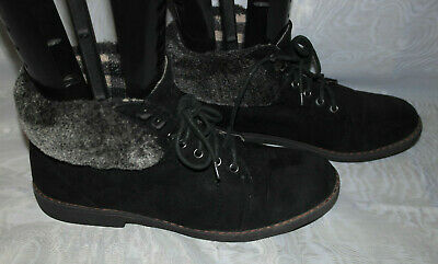 Dorothy Perkins Womens Black Lace Up Faux Suede Ankle Boots Sz:7/41(Wb3266)