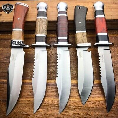 "10"" Outdoor Survival Camping Fixed Blade Hunting Knife Bowie Rambo w/ Sheath"