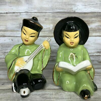 Set Of 2 Vintage Ceramic Figurines Asian Man Playing Guitar Woman Reading Book