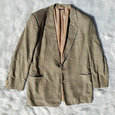 Vtg Giorgio Armani Silk / Wool Houndstooth Plaid EUR 48 US 38L Sport Coat Jacket