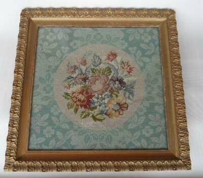 Antique Victorian Large Gold Framed Wool Hand Made Needlework Tapestry Art