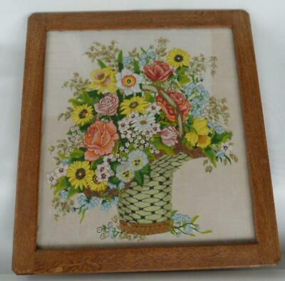 Antique Art Deco Wooden Oak Framed Hand made Crewel Floral Embroidery Tapestry