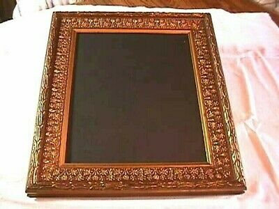 Ornate  Wood Rectangle Picture Frame Gold Tone Wall Hanging