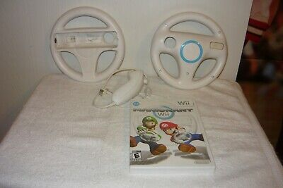 Mario Kart for Nintendo Wii with 2 Authentic Nintendo Wii Steering Wheels